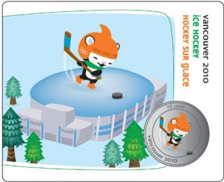 2010 - 50 Cents - Vancouver – Miga Mascot – Ice Hockey Collector Card