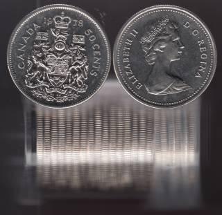 1978 Canada 50 Cents - Half Dollar - BU ROLL 22 Coins - UNC
