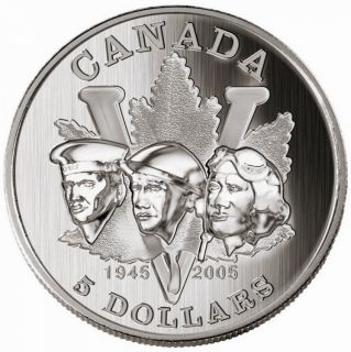 2005 - $5 Fine Silver - 60th Anniversary of the End of 2nd World War - Tax Exempt