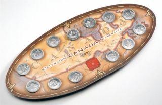 1999 - 25 Cents - Canada Millennium Commemorative Set - 12 Coins + Medallion Royal Canadian Mint