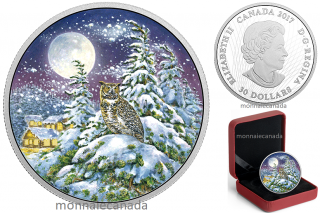 2017 - $30 - Animals in the Moonlight – 2 oz. Pure Silver Glow-In-The-Dark - Great Horned Owl