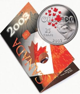 2003 - 25 Cents coin Canada Day Colorized