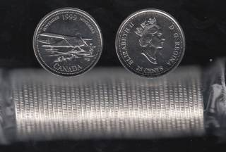 1999 Canada 25 Cents November - BU ROLL 40 Coins - UNC