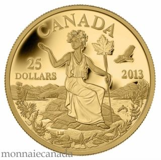 2013 - $25 - 1/4 oz Pure Gold Coin - Canada: An Allegory