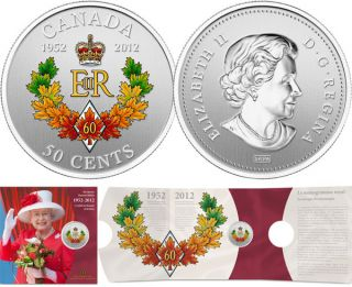 2012 - The Queen's Diamond Jubilee Emblem for Canada - 50-Cent Silver Plated Coloured Coin