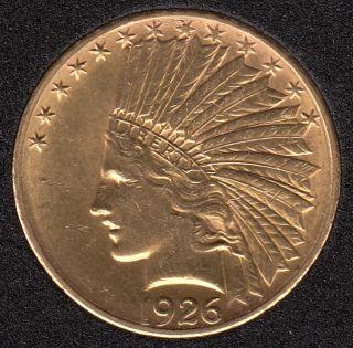 US 1926 Indian Head Eagle $10 Dollar Gold 16.718 gr. 900 Gold .48375oz