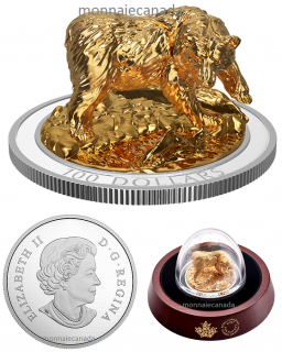 2017 - $100 - Pure Silver Gold Plated – Sculpture of Majestic Canadian Animals: Grizzly