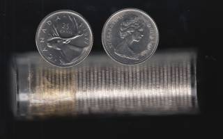 1977 Canada 25 Cents - BU ROLL 40 Coins in Plastic Tube - UNC