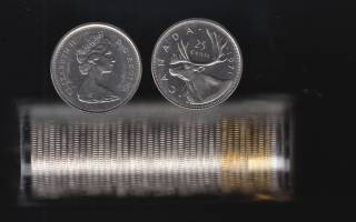 1971 Canada 25 Cents - BU ROLL 40 Coins in Plastic Tube - UNC