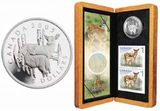 2005 $5 Fine Silver Coin - Deer and Fawn Coin & Stamp - TAX Exempt