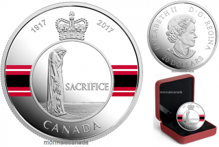 2017 - $20 - 1 oz. Pure Silver Coloured Coin - Canadian Honours: Sacrifice Medal
