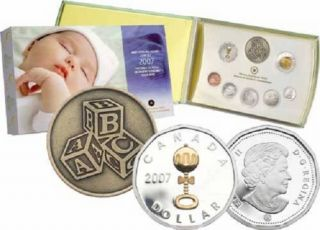 2007 Silver Dollar Gold Plated Rattle Baby Proof Set
