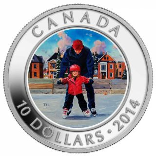 2014 - $10 - 1/2 oz. Fine Silver Coin - Learning to Skate
