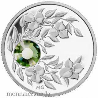 2012 - $3 - August Birthstone (Peridot) - Fine Silver Coin