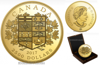 2017 - $2500 - One Kilogram Pure Gold Coin - A Tribute to the First Canadian Gold Coin