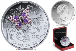 2017 - $20 - 1 oz. Pure Silver Coloured Coin - Bejeweled Bugs: Butterfly