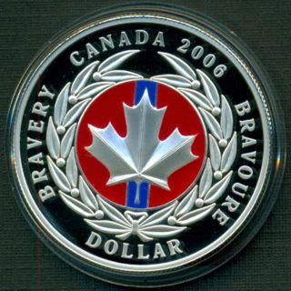 2006 ENAMEL PROOF FINE SILVER DOLLAR MEDAL OF BRAVERY