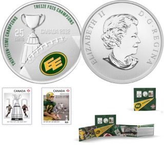 2012 - The Edmonton Eskimos - 25-Cent Coloured Coin and Stamp Set