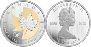 2013 - $50 - 5 oz. Fine Silver Coin - 25th Anniversary of the Silver Maple Leaf