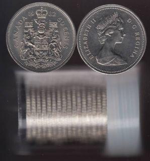 1982 Canada 50 Cents - Half Dollar - BU ROLL 21 Coins - UNC