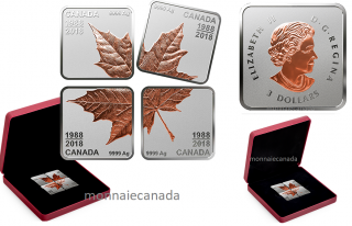 2018 - 1988 - Pure Silver Rose Gold-Plated Maple Leaf Quartet - Thirty Years