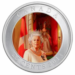 2013 - Her Majesty Queen Elizabeth II Coronation - Coloured Coin 25¢