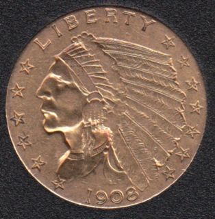 US 1908 Indian Head $2.50 Quarter Eagle Gold Coin
