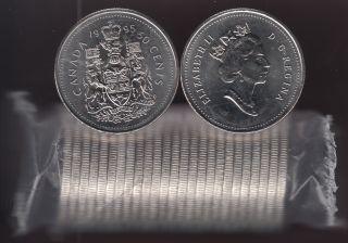 1995 Canada 50 Cents - Half Dollar - BU ROLL 25 Coins - UNC