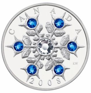 2008 - $20 - Fine Silver Coin - Crystal Snowflake Sapphire  - No Tax