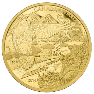 2014 - $500 - 5 oz. Pure Gold Coin - The Legend of the Spirit Bear