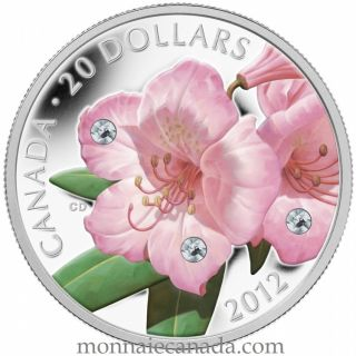 2012 - $20 - Fine Silver Coin - Rhododendron Crystal Dew Drop
