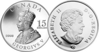 2008 - $15 - Sterling Silver Coin – King George V