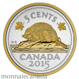 2015 - 5 Cents  - 5 oz. Fine Silver Gold-Plated Coin – Big Coin Series: 5-cent Coin