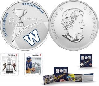 2012 - The Winnipeg Blue Bombers - 25-Cent Coloured Coin and Stamp Set
