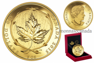 2015 - $500 - 5 oz. Pure Gold Coin – Maple Leaf