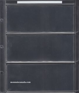 1 Sheet for Uni-Safe Binder 3-Pocket page to hold 3 regular paper bills