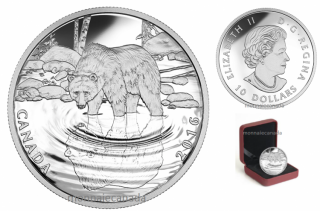 2016 - $10 - Fine Silver - Reflections of Wildlife - Grizzly Bear