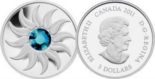 2011 - $3 - Fine Silver Coin - December Birthstone (Zircon)