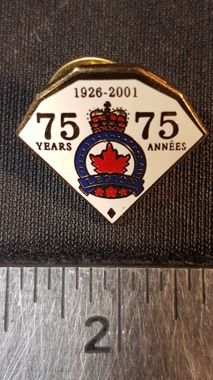 #134 Royal Canadian Legion 75yrs 1926-2001 Enamel Lapel Pin