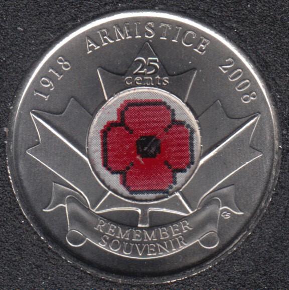 2008 - B.Unc - Poppy - Canada 25 Cents