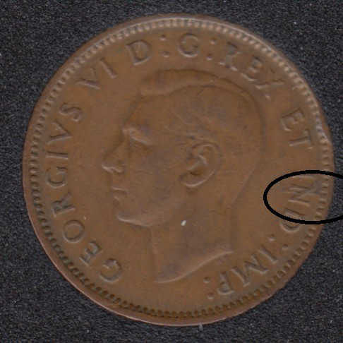 1947 ML - Break N to Rim - Canada Cent