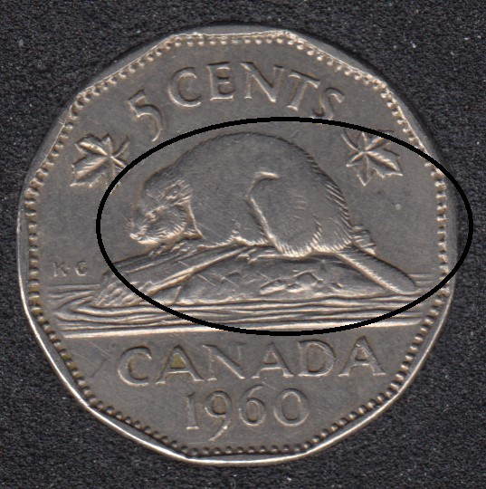 1960 - Bald Beaver - Canada 5 Cents