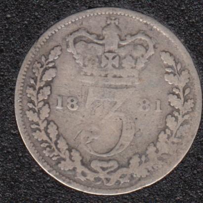 1881 - 3 Pence - Grande Bretagne