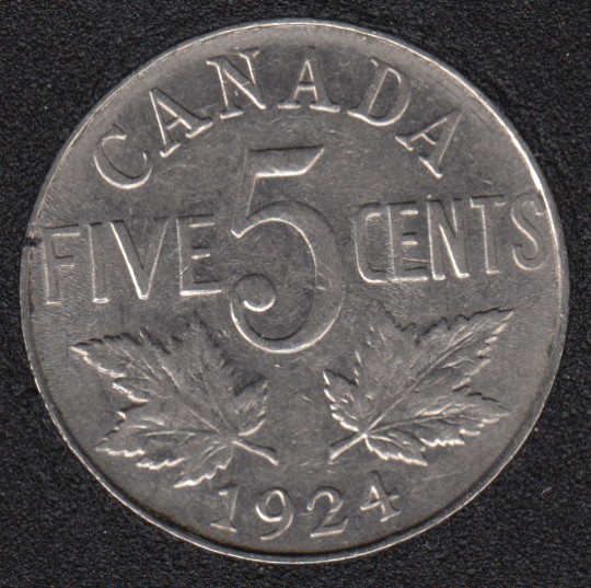 1924 - VF - Canada 5 Cents