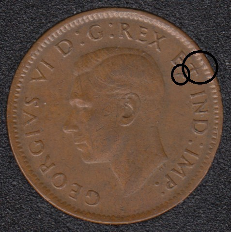 1943 - Break T to Rim - Canada Cent