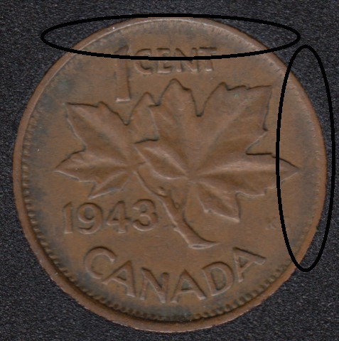 1943 - Missing Denticle - Canada Cent