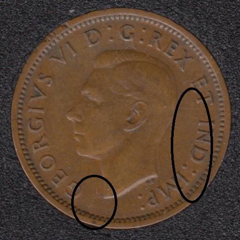 1939 - Break Bust to Rim - Break T IND IM Attached - Canada Cent