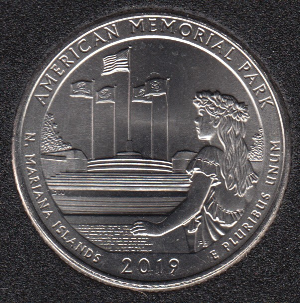 2019 P - B.Unc - American Memorial Park - 25 Cents