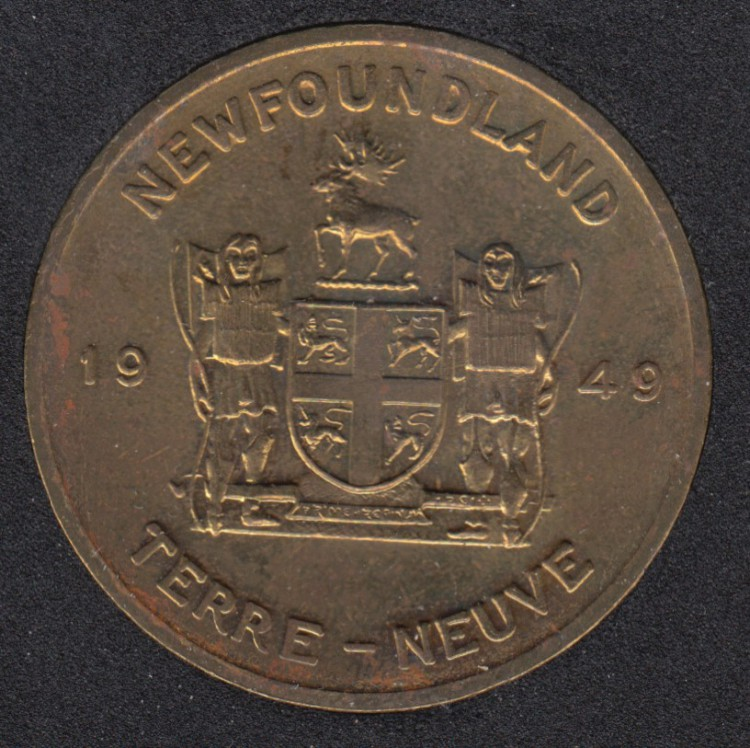 Coat of Arms of Newfoundland (1949) Medal - with Nfld Flower Pitcher Plant