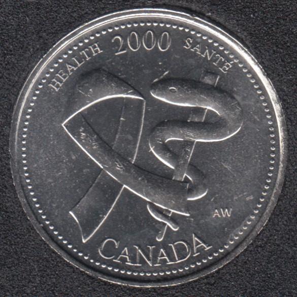 2000 - #4 B.Unc - Santé - Canada 25 Cents